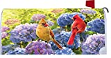 Cardinals in Hydrangeas - Mailbox Makover Cover - Vinyl witn Magnetic Strips for Steel Standard Rural Mailbox - Copyright, Licensed and Trademarked by Custom Decor Inc.