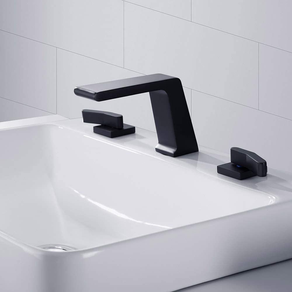 Modern Waterfall Widespread 2 Handles 3-Hole Right-Angled Black Bathroom Faucet