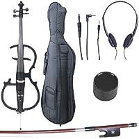 Cecilio CECO-2BK Ebony Fitted Silent Electric Cello, Style 2, Metallic Black, 4/4 (Full Size)