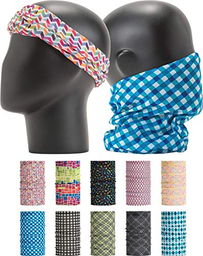 Leevo Pattern Bold Multiwear Headband Wrap Scarf Wind Shield Neck Gaiter Bandana (Free Size (18.5