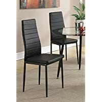 Retro Style Black Faux Leather Dining Chairs Set of 4 by Poundex