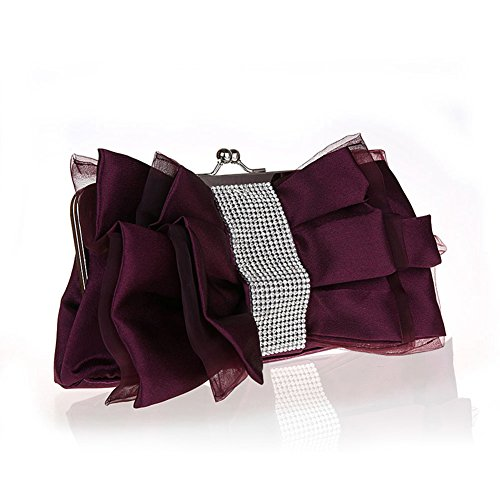 Flada niña de flores de seda noche embrague mariposa nudo rhinestones bolso de la boda de color albaricoque Purple