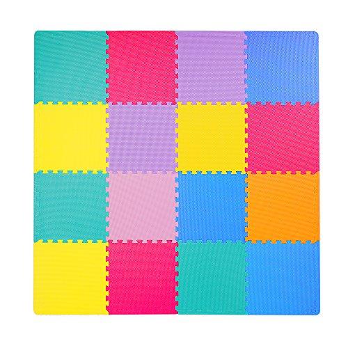 Foam Puzzle Mat for Kids, Superjare 16 Tiles (16 tiles = 16 sq.ft) EVA Playmat Interlocking Tiles, with Borders Multi-Color