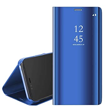 POBIN Para Xiaomi Redmi Note 8 Funda,Translúcido Espejo Standing Cover Slim Fit Anti-Shock Anti-Rasguño Mirror 360°Protectora Flip Funda para Xiaomi ...