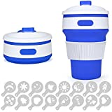 Silicone Collapsible Coffee Cup with Leak-Proof Lid, SENHAI 12 oz Foldable Portable Travel Water Mug for Backpacking Camping Hiking Picnic, BPA Free, with 16 pcs Coffee Stencils - Blue