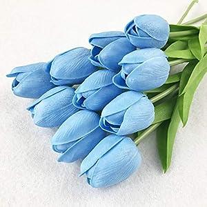 GSD2FF 11pcs Tulip Artificial Flower PU Artificial Bouquet Real Touch Home Wedding Decorative Flowers Wedding Decoration,Sky Blue 30
