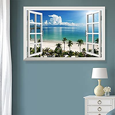 Lovely Object of Art, Window View Tropical Landscape with Beach and Palm Trees, Premium Product