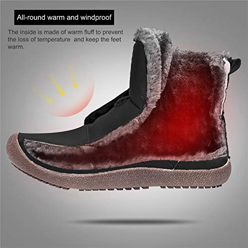 Black Short Snow JIASUQI Fur Winter Waterproof Ankle Women's Shoes Boots EUxqzxv0w