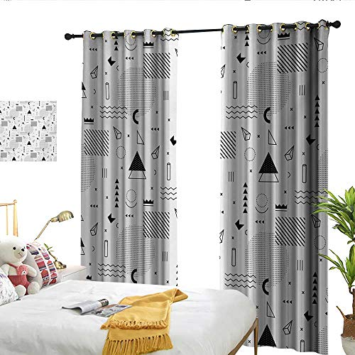 - flymeeo Black and White Indie Style Art with Abstract Triangle Square and Different Shapes Pattern White Black Perforated Curtain