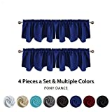 PONY DANCE Blackout Window Dressing - Scalloped Valance Thermal Insulated Rod Pocket Top Curtain Tier/Half Drapes Set Home Decoration, 42'' W x 18'' L, Navy Blue, Set of 4
