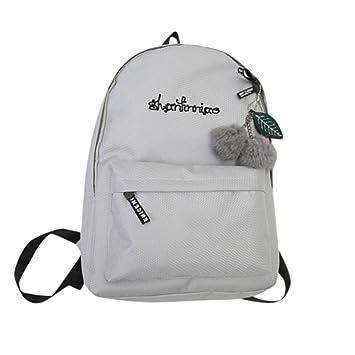 Vinjeely Fashion Women Girls Shoulder Bag Solid Bookbags Elementary School  Student Travel Backpack (Gray) 0c04d8acecec5