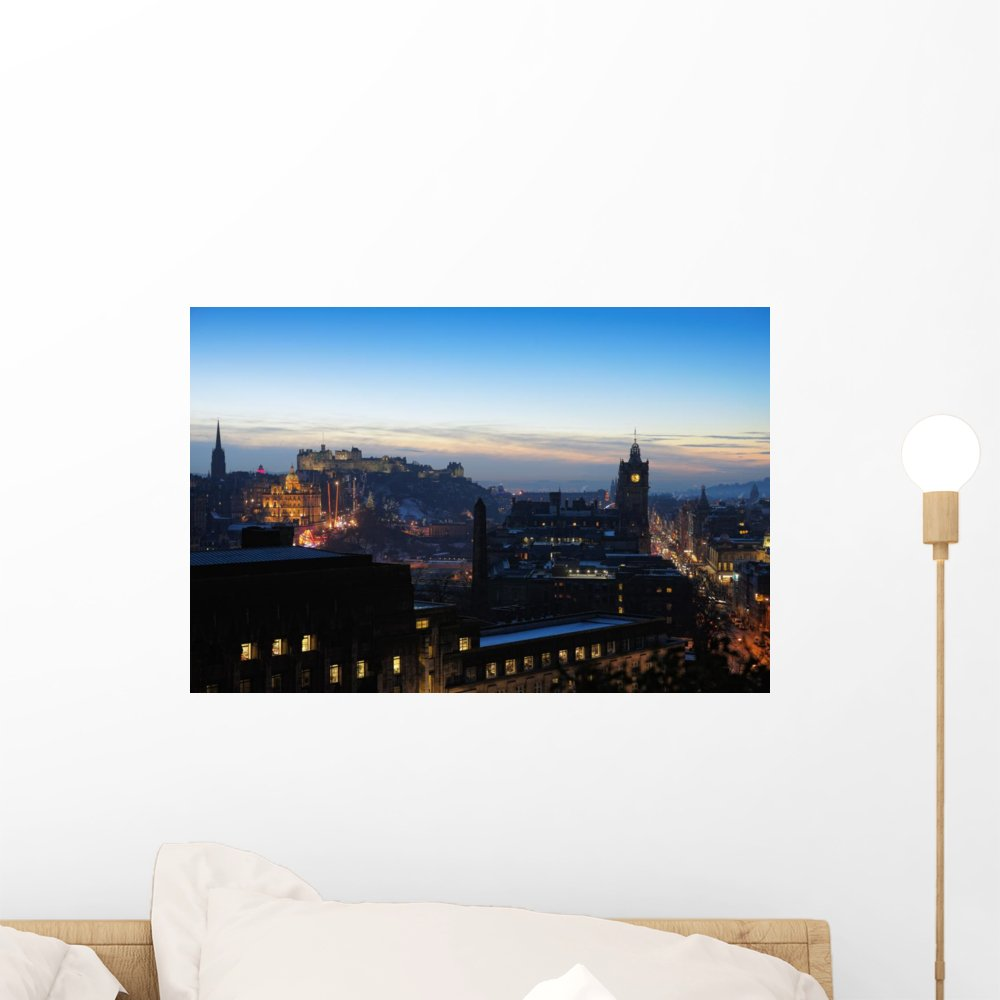 Amazon com wallmonkeys central edinburgh scotland at nightfall in winter wall decal peel and stick graphic wm117541 24 in w x 16 in h home kitchen