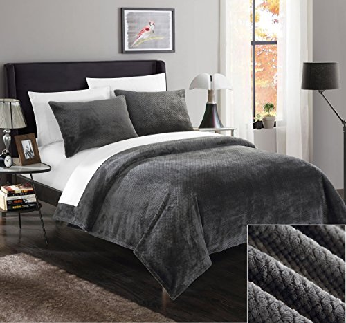 Chic Home SB5098-AN 2 Piece Luxembourg Ultra Plush Micro Mink Waffle Textured Blanket and Shams Set, Twin, Grey