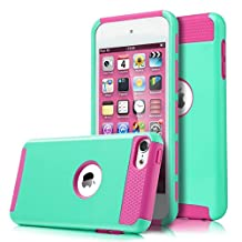 iPod Touch 6 Case, MCUK Dual Layer Hybrid Cover Silicone Rubber Skin Hard Combo Bumper High Quality Scratch-Resistant Case Fit For Apple iPod Touch 5 6th Generation (Blue/Rose)