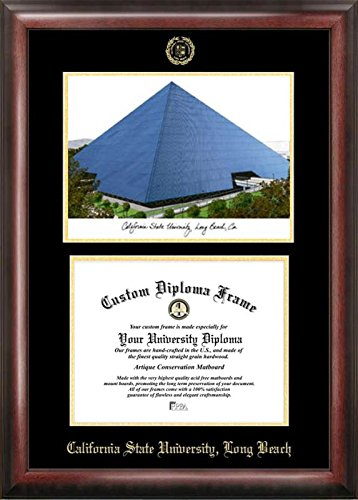 Campus Images ''California State Long Beach Embossed Diploma'' Frame with Lithograph Print, 8.5'' x 11'', Gold
