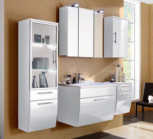 5-tlg Badezimmer in Hochglanz weiss Badmbel Softclose LED Spiegelschrank