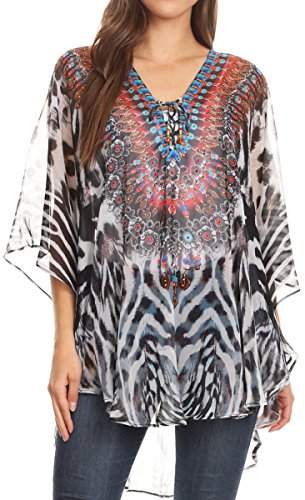(Sakkas 1821 - Sloane Women's Printed V Neck Loose Fit Casual Circle Top Blouse with Ties - ZW11-White - OS )