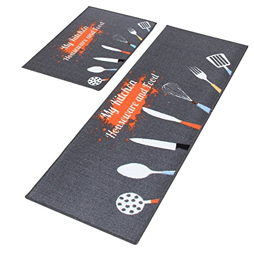 Dotteen Decorative Kitchen Rugs 2 Pieces Non-Slip Rubber Backing Doormat Runner Area Mats Sets, Grey (Kitchen Utensil Rugs)