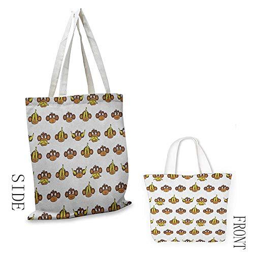 (Craft canvas bag Nursery Funny Monkeys with Bananas Various Expressions Animal Comedy Design Daily wallet handbag 16.5