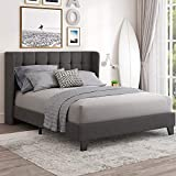 Einfach Queen Upholstered Wingback Platform Bed