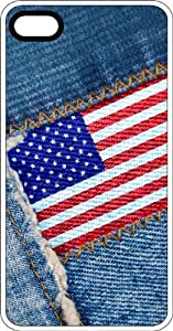 meilz aiaiAmerican Flag Sewn On Blue Jeans White Rubber Case for Apple iPhone 5 or iPhone 5smeilz aiai