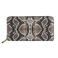 Freewander Simple Long Wallet for Women Zipper Around Credit Card Holder Cute Purse Snake Skin Print