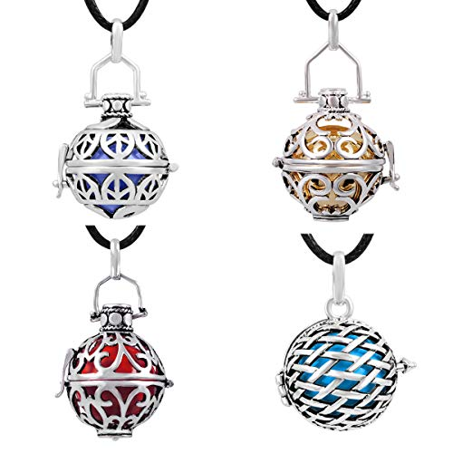 EUDORA Harmony Bola Pack of 4 Pieces Pregnancy Chime Bell Angel Chime Caller 20mm Pendant Necklace ()