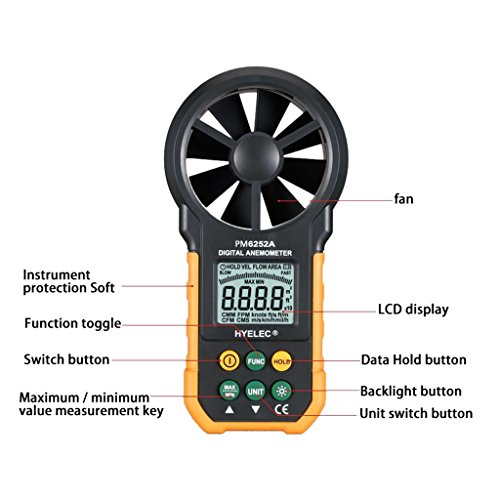 YUNAWU 1set High Accuracy Digital Air Speed Anemometer/Air Volume/Air Flow Test Meter for HYELEC MS6252A by YUNAWU (Image #6)
