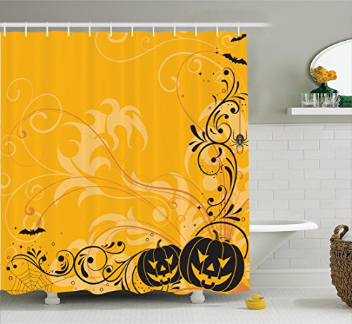 Halloween Decorations Shower Curtain Set by Ambesonne, Carved Pumpkins with Floral Patterns Bats and Spider Web Horror Themed Artwork, Bathroom Accessories, 75 Inches Long, Orange Black (Halloween Bat Art)