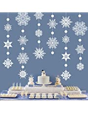 Transparent White Large Snowflake Garland Streamers for Frozen Birthday Baby Shower Party, Winter Wonderland White Snowflake Banner kit Hanging Snow Flakes for Christmas New Year Party Decoration
