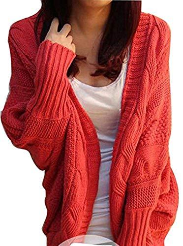 Moda A Pipistrello Libero Maglioni Autunno Giacca Women Termico Solidi Sciolto Cardigan Asimmetrica Cappotto Eleganti Maglia Rot Donna Di Colori Calda Giovane Manica Invernali Tempo YdO4Oxq