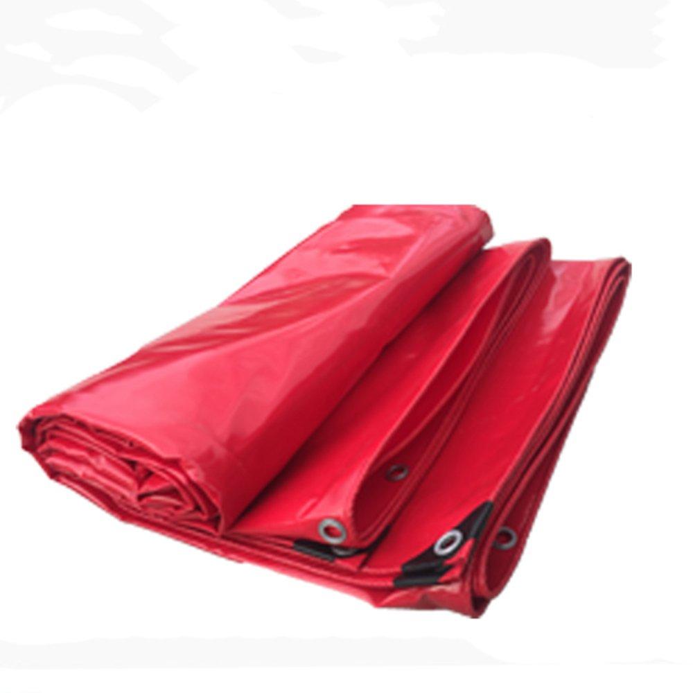 YNN 赤い厚いターポリン屋外防水布日保護オイルクロスキャノピー大きなトラックのキャンバス0.42MM 530 g/M² 防水シート (色 : Red, サイズ さいず : 6x 8m) B07FNQN1T9 6x 8m|Red Red 6x 8m