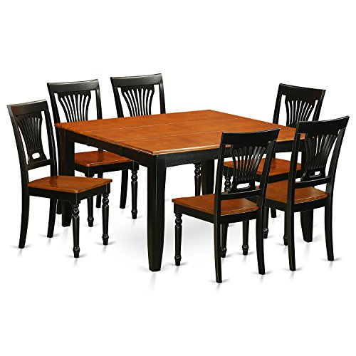 East West Furniture PFPL7-BCH-W 7 Piece Dining Table and 6 Solid Wood Chairs Set