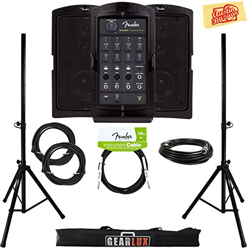 Fender Passport Conference Portable PA System Bundle with Speaker Stands, XLR Cable, Instrument Cable, and Austin Bazaar Polishing Cloth by Fender