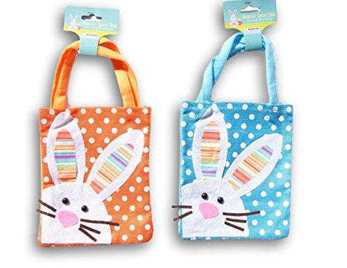 Easter Orange and Blue Burlap Mini Tote Bag Bundle - Set of 2 - Regent Gift