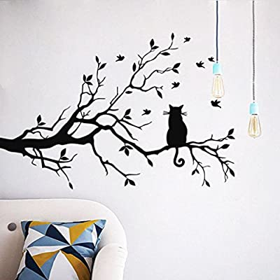 Iuhan Fashion Cat On Long Tree Branch Wall Sticker Animals Cats Art Decal Kids Room Decor