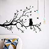 Cat On Long Tree Branch Wall Sticker Animals Cats Art Decal Kids Room Decor Feature:Product DescriptionNon-toxic, environmental protectionBrand new, Fashion Design and High Quality.Material: Vinylcolor:blackPackage :1X Wall DecalComposing Siz...