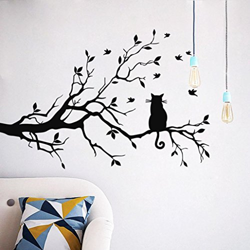 Iuhan Fashion Cat On Long Tree Branch Wall Sticker Animals Cats Art Decal Kids Room Decor (Black)