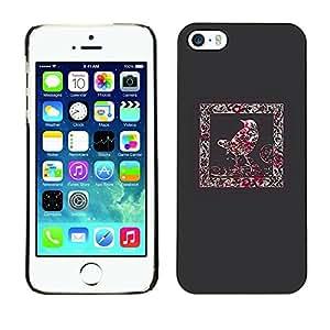 FECELL CITY // Duro Aluminio Pegatina PC Caso decorativo Funda Carcasa de Protección para Apple Iphone 5 / 5S // Crow Frame Blood Red Splatter Minimalist