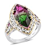 Watermelon Quartz, Pink Tourmaline 14K Yellow Gold and Platinum Plated Silver Ring 8.63 cttw. Size 7