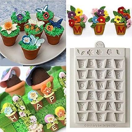 Anqeeso molde de silicona para horno, alfabeto macetas, fondant, decoración de tartas,