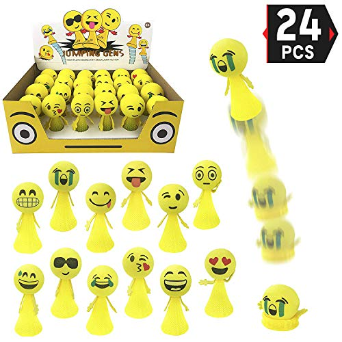 Liberty Imports Jumping Emoji Popper Spring Launchers Toy Bouncy Ball Party Favors Supplies (24 Pieces) -