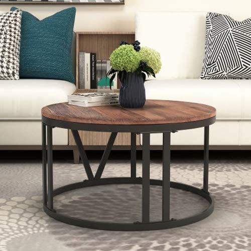 P PURLOVE Round Coffee Table Industrial Coffee Table for Living Room Rustic Wood Coffee Table with Roman Numerically Shaped Iron Legs Diameter 31.5