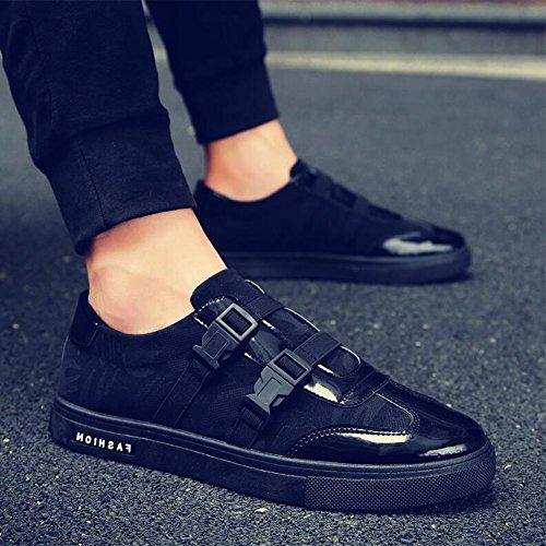 Chaussures YIXINY de Sport Printemps Et Automne Tendance Hommes Toile Plat Loisirs Noir Rouge Blanc Route et Chemin (Couleur : 3, Taille : EU40/UK7/CN41) 1