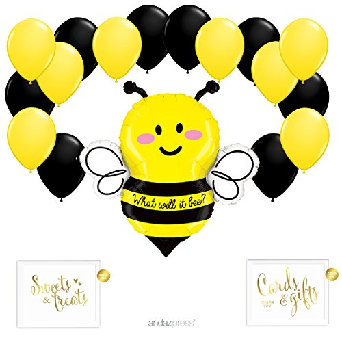 Andaz Press Balloon Party Kit with Gold Ink Signs, What Will it Bee? with Yellow and Black Latex Balloons, 19-Piece Kit -