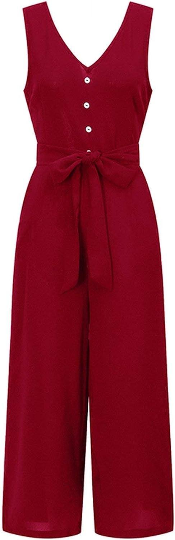 The best of us Jumpsuits for Women Summer Rompers V Neck Button Bandage Pocket Wide Leg Pants Tracksuit Overalls Playsuit