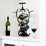 WELLAND Metal Wine Rack Heart Shaped Wine Stand, Holds 3 Wine Bottles and 2 Glasses