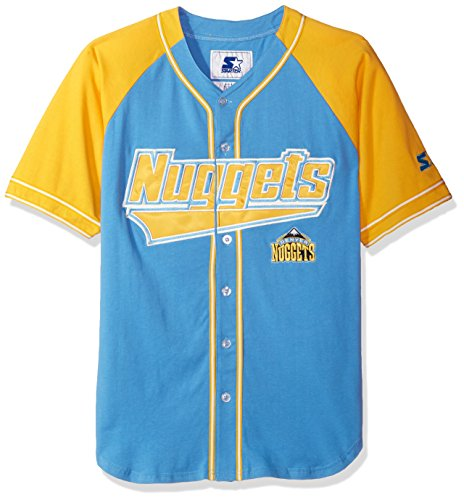 - STARTER NBA Denver Nuggets Men's The Player Baseball Jersey, Large, Blue