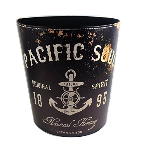 KiaoTime Waste Bin - Vintage Rustic Decorative Anchor Design Waste Paper Basket for Bedroom, Kitchen,Bathroom, Office or Studio Trash Can Garbage Wastebasket Rubbish Bin, Black Color (Anchor Design) ()