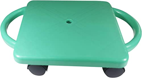 Educational Manual Plastic Scooter Board with Safety Handles 16 x 11 inches Perfect for Kids, Teens, Adults PE, Gym Class, Daycare, Preschool Development, Games Light Green